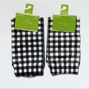 NWT kate spade b&w checkered crew socks (set of 2)